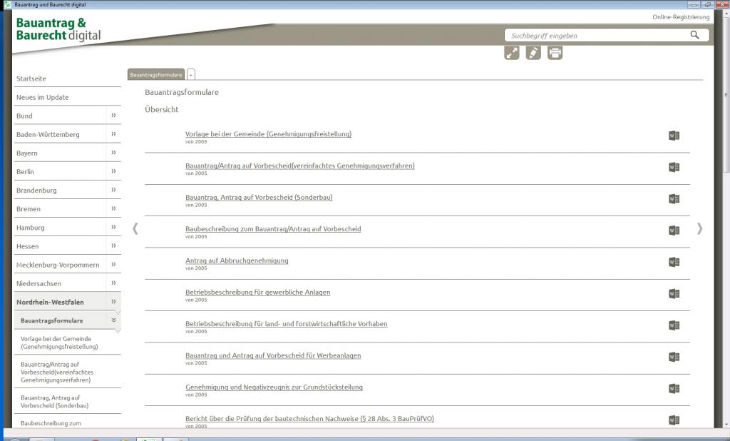 """Screenshot aus """"Bauantrag & Baurecht digital"""""""